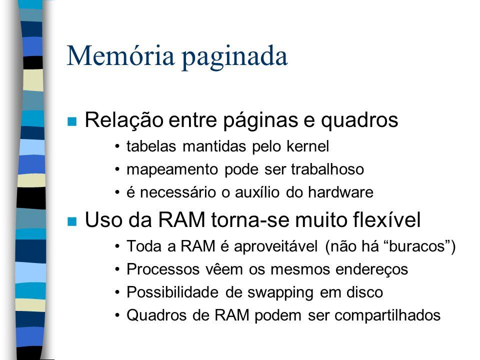 Memória paginada n Relação entre páginas e quadros tabelas mantidas pelo kernel mapeamento pode ser trabalhoso é necessário o auxílio do hardware n Us