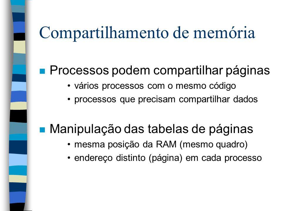 Compartilhamento de memória n Processos podem compartilhar páginas vários processos com o mesmo código processos que precisam compartilhar dados n Man