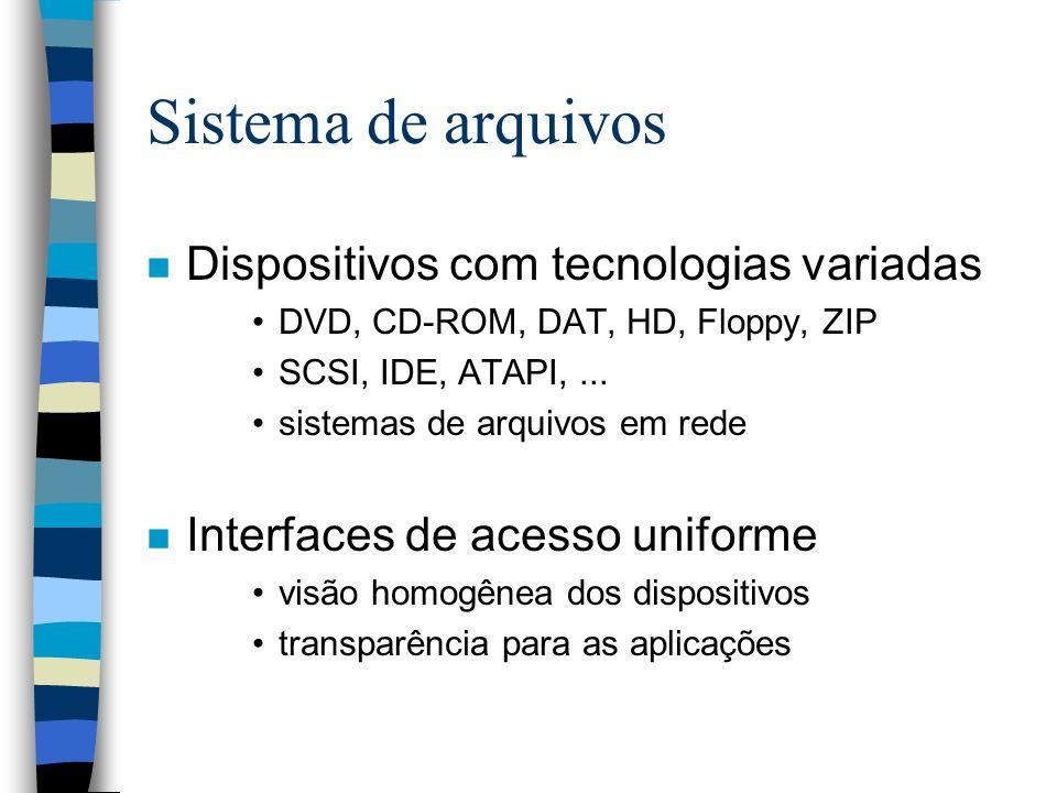 Sistema de arquivos n Dispositivos com tecnologias variadas DVD, CD-ROM, DAT, HD, Floppy, ZIP SCSI, IDE, ATAPI,... sistemas de arquivos em rede n Inte