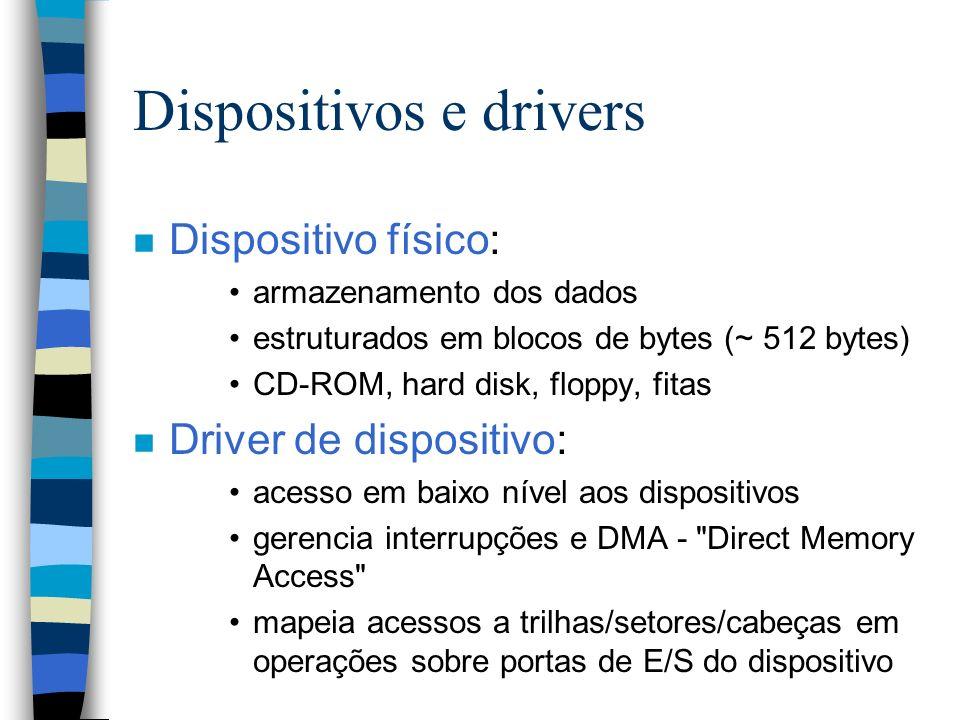 Dispositivos e drivers n Dispositivo físico: armazenamento dos dados estruturados em blocos de bytes (~ 512 bytes) CD-ROM, hard disk, floppy, fitas n