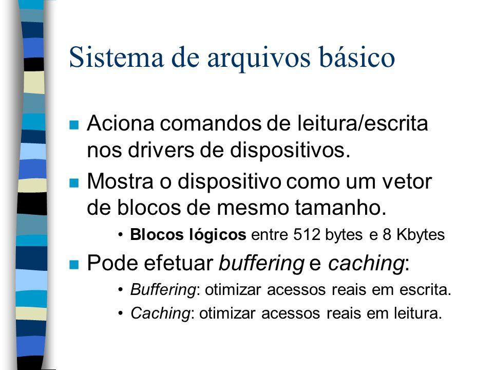 Sistema de arquivos básico n Aciona comandos de leitura/escrita nos drivers de dispositivos. n Mostra o dispositivo como um vetor de blocos de mesmo t