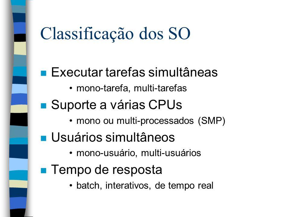 Classificação dos SO n Executar tarefas simultâneas mono-tarefa, multi-tarefas n Suporte a várias CPUs mono ou multi-processados (SMP) n Usuários simu