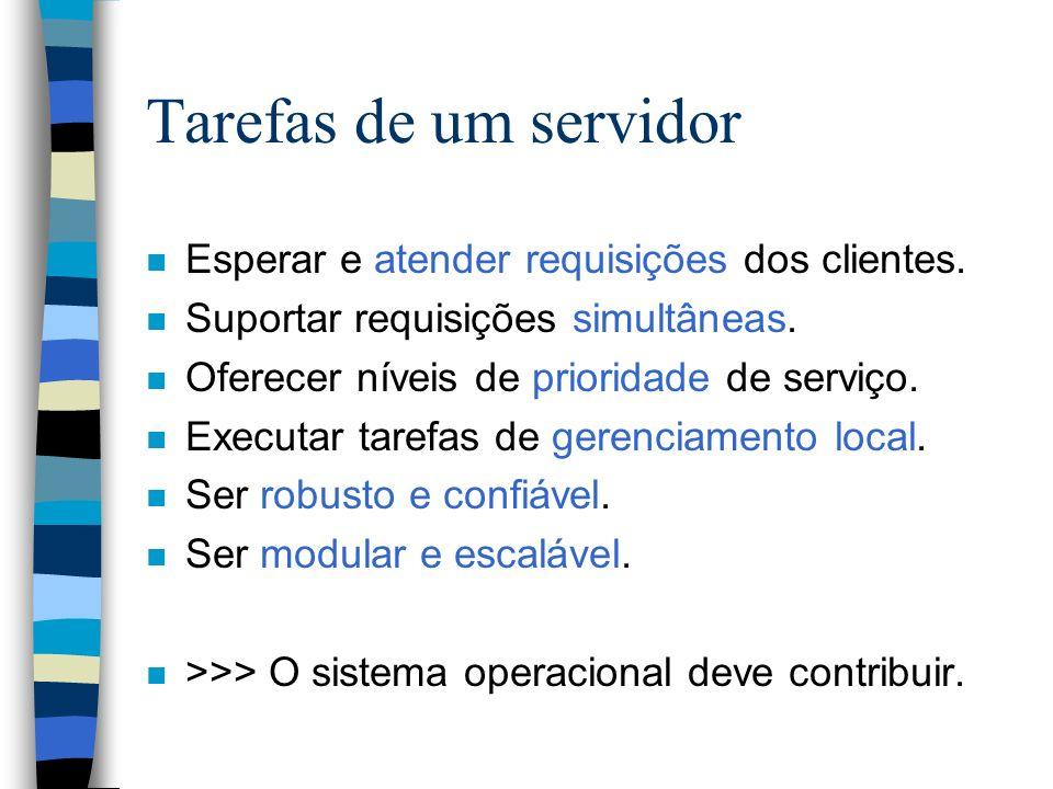 Tarefas de um servidor n Esperar e atender requisições dos clientes. n Suportar requisições simultâneas. n Oferecer níveis de prioridade de serviço. n