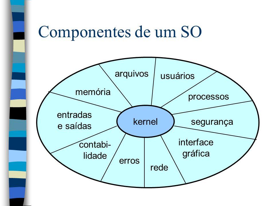 O kernel n Concentra o acesso ao hardware drivers de dispositivo gerência de acesso n Provê funções básicas operações de acesso ao hardware noção básica de processos comunicação entre processos (IPC) n É executado em modo privilegiado