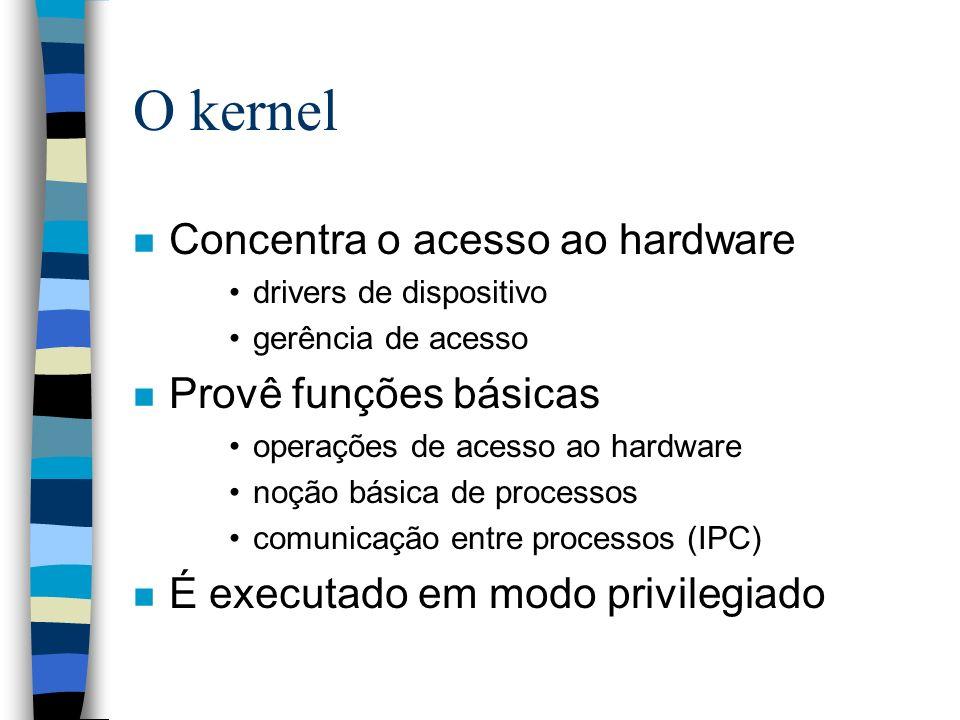 O kernel n Concentra o acesso ao hardware drivers de dispositivo gerência de acesso n Provê funções básicas operações de acesso ao hardware noção bási