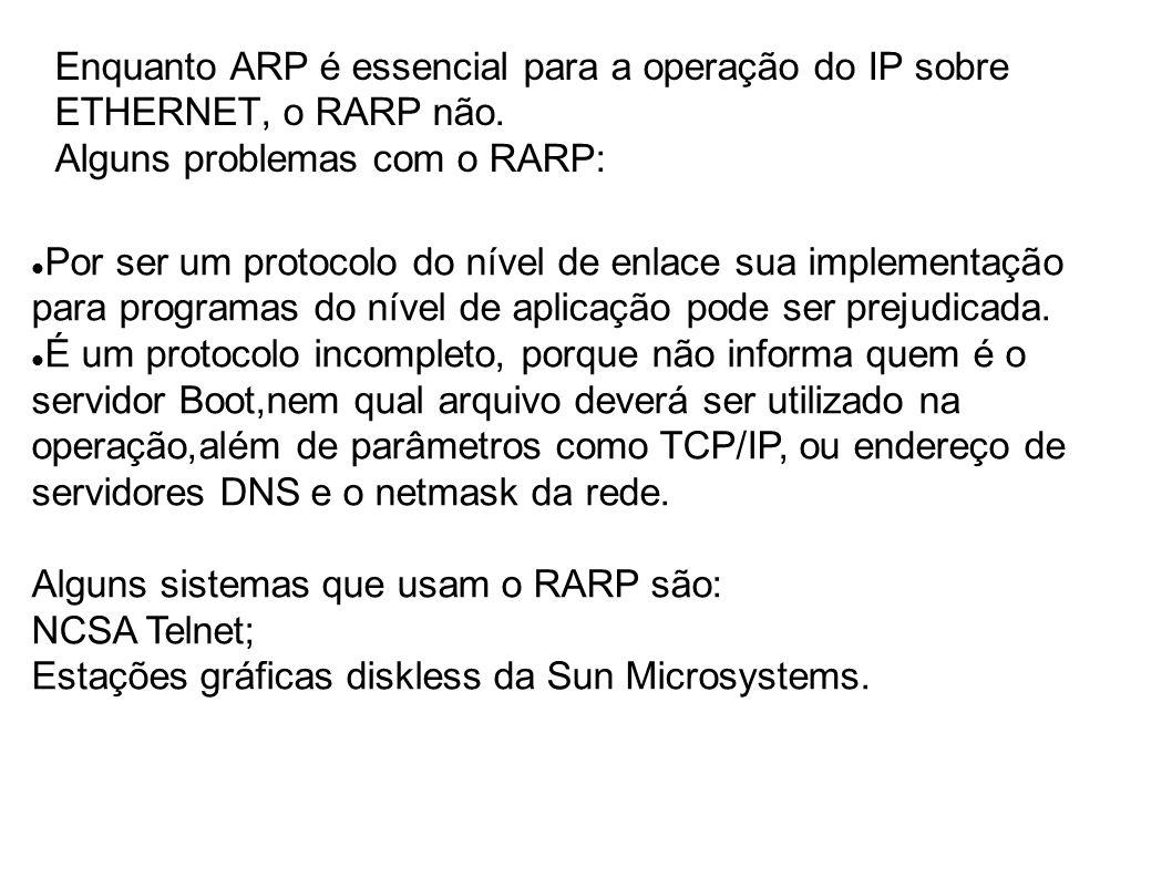 Enquanto ARP é essencial para a operação do IP sobre ETHERNET, o RARP não.