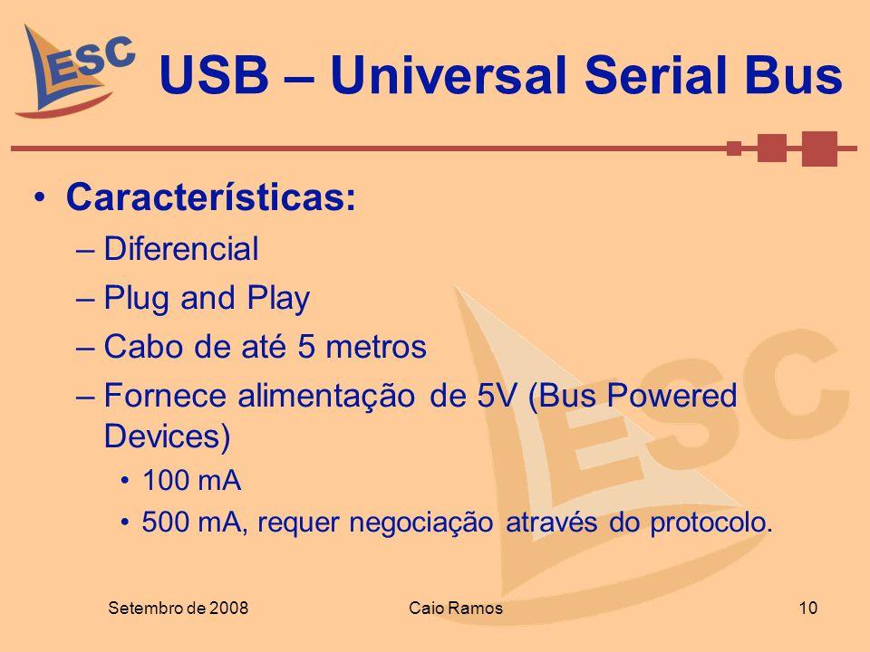 USB – Universal Serial Bus Setembro de 2008 10 Caio Ramos Características: –Diferencial –Plug and Play –Cabo de até 5 metros –Fornece alimentação de 5