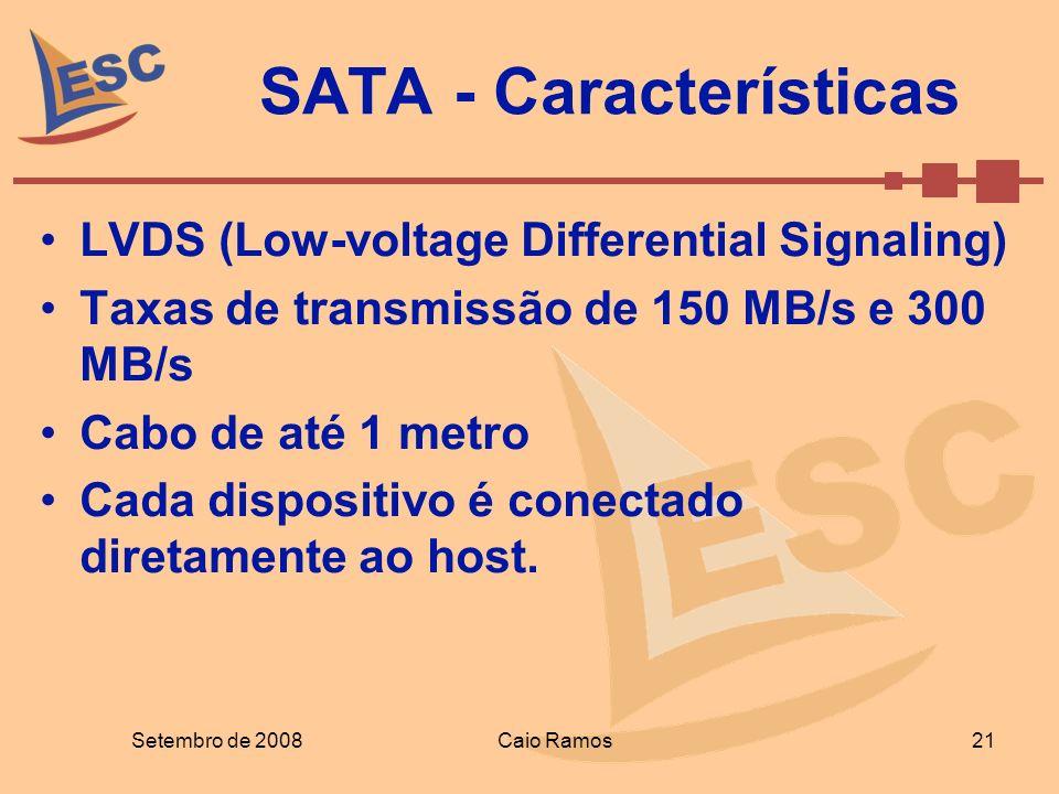 SATA - Características LVDS (Low-voltage Differential Signaling) Taxas de transmissão de 150 MB/s e 300 MB/s Cabo de até 1 metro Cada dispositivo é co