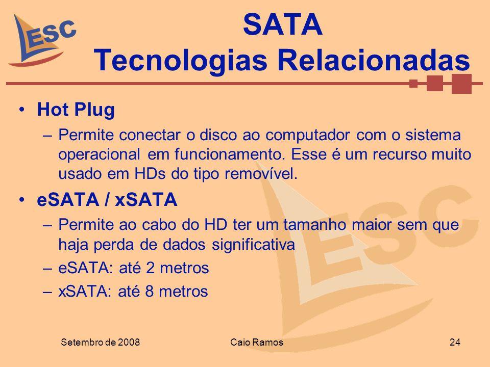 Hot Plug –Permite conectar o disco ao computador com o sistema operacional em funcionamento. Esse é um recurso muito usado em HDs do tipo removível. e