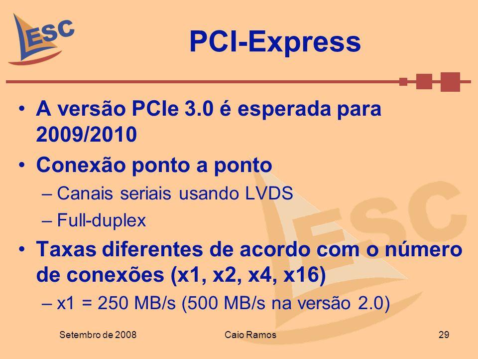 PCI-Express Setembro de 2008 29 Caio Ramos A versão PCIe 3.0 é esperada para 2009/2010 Conexão ponto a ponto –Canais seriais usando LVDS –Full-duplex