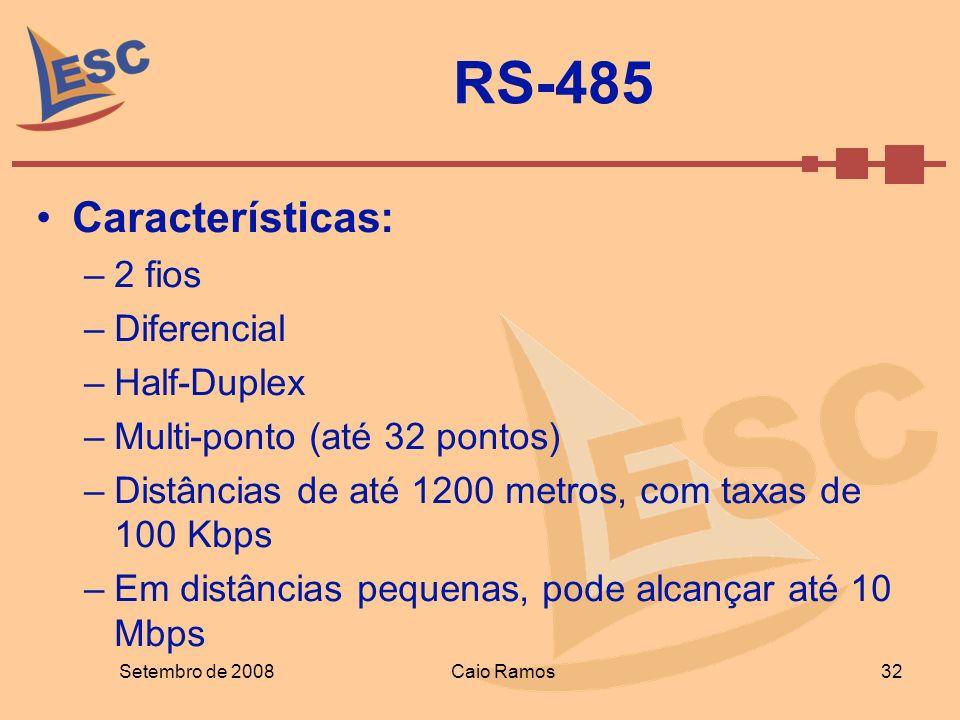 RS-485 Características: –2 fios –Diferencial –Half-Duplex –Multi-ponto (até 32 pontos) –Distâncias de até 1200 metros, com taxas de 100 Kbps –Em distâ