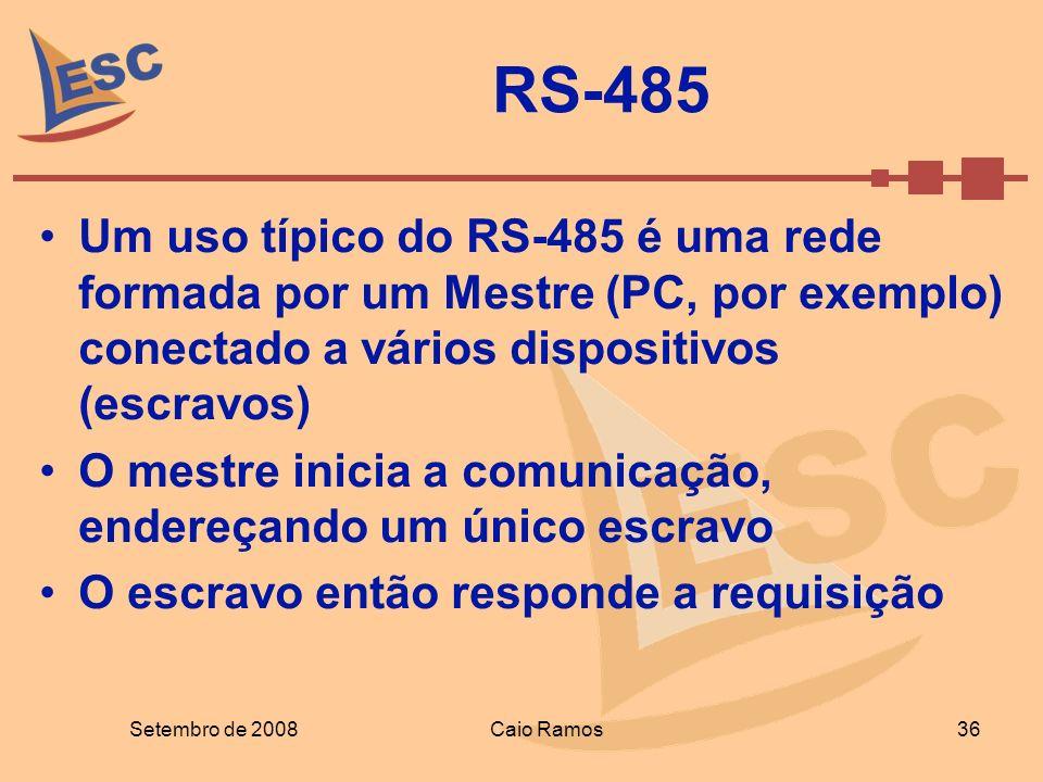 RS-485 Um uso típico do RS-485 é uma rede formada por um Mestre (PC, por exemplo) conectado a vários dispositivos (escravos) O mestre inicia a comunic