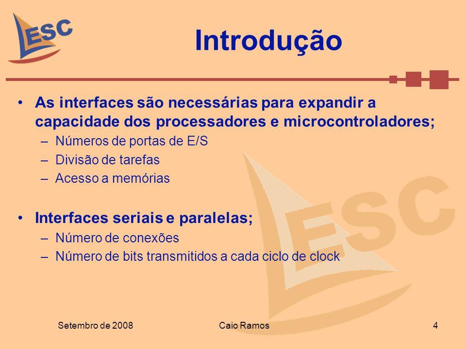 Introdução As interfaces são necessárias para expandir a capacidade dos processadores e microcontroladores; –Números de portas de E/S –Divisão de tare