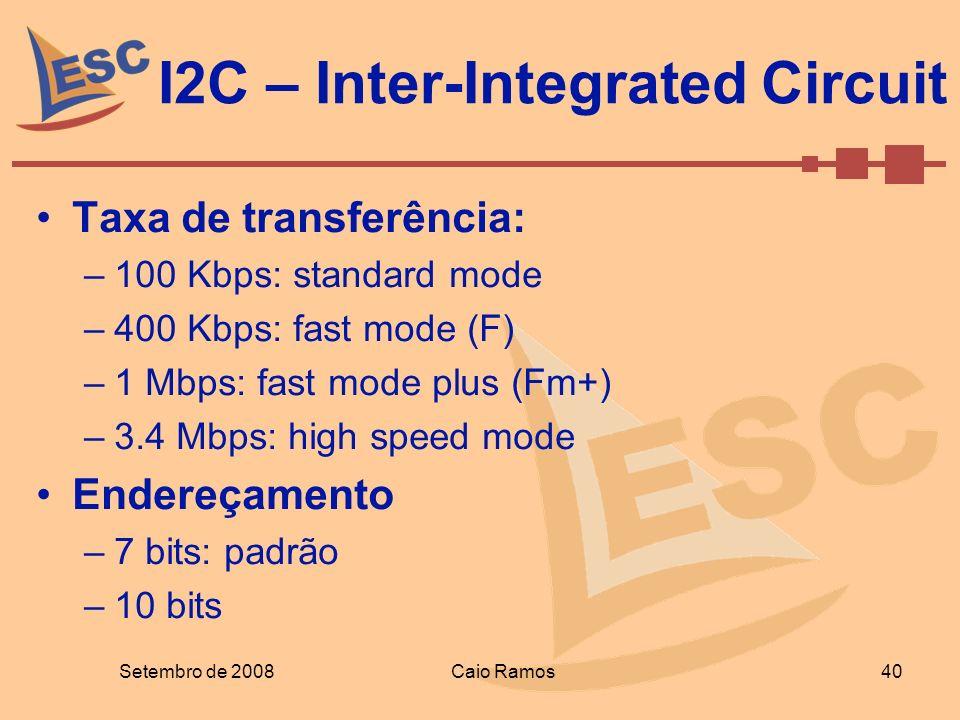 I2C – Inter-Integrated Circuit Setembro de 2008 40 Caio Ramos Taxa de transferência: –100 Kbps: standard mode –400 Kbps: fast mode (F) –1 Mbps: fast m