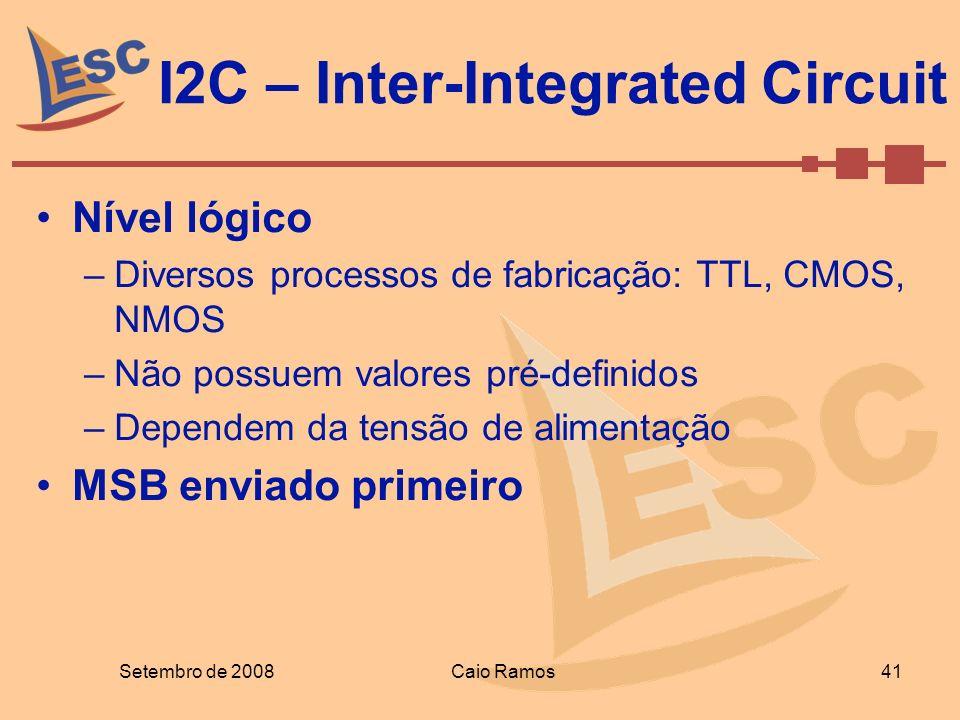 I2C – Inter-Integrated Circuit Setembro de 2008 41 Caio Ramos Nível lógico –Diversos processos de fabricação: TTL, CMOS, NMOS –Não possuem valores pré