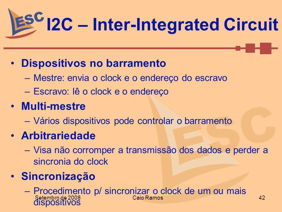 I2C – Inter-Integrated Circuit Setembro de 2008 42 Caio Ramos Dispositivos no barramento –Mestre: envia o clock e o endereço do escravo –Escravo: lê o