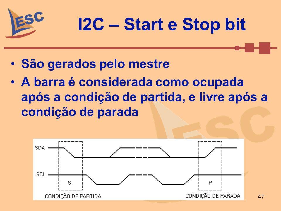 Setembro de 2008Caio Ramos 47 I2C – Start e Stop bit São gerados pelo mestre A barra é considerada como ocupada após a condição de partida, e livre ap