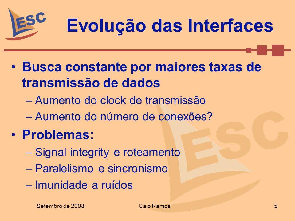 Evolução das Interfaces Busca constante por maiores taxas de transmissão de dados –Aumento do clock de transmissão –Aumento do número de conexões? Pro