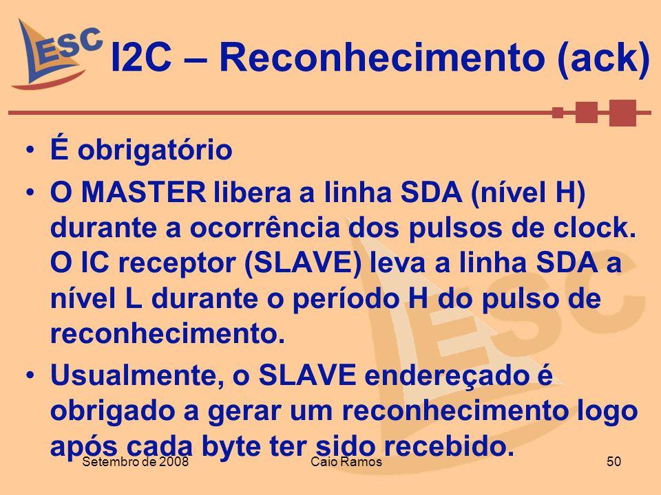 Setembro de 2008Caio Ramos 50 I2C – Reconhecimento (ack) É obrigatório O MASTER libera a linha SDA (nível H) durante a ocorrência dos pulsos de clock.