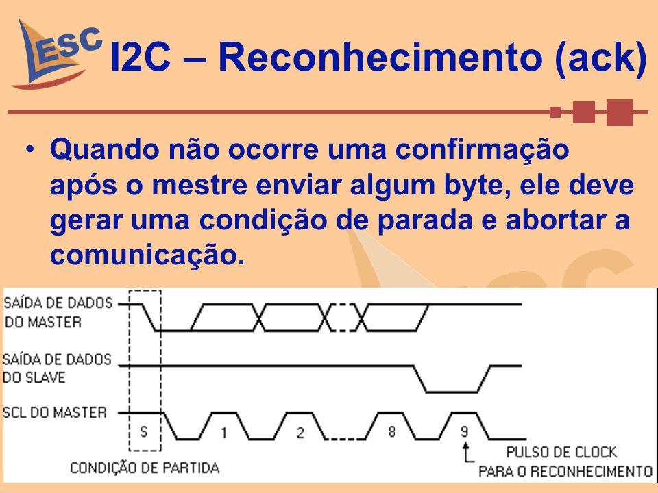Setembro de 2008Caio Ramos 51 I2C – Reconhecimento (ack) Quando não ocorre uma confirmação após o mestre enviar algum byte, ele deve gerar uma condiçã