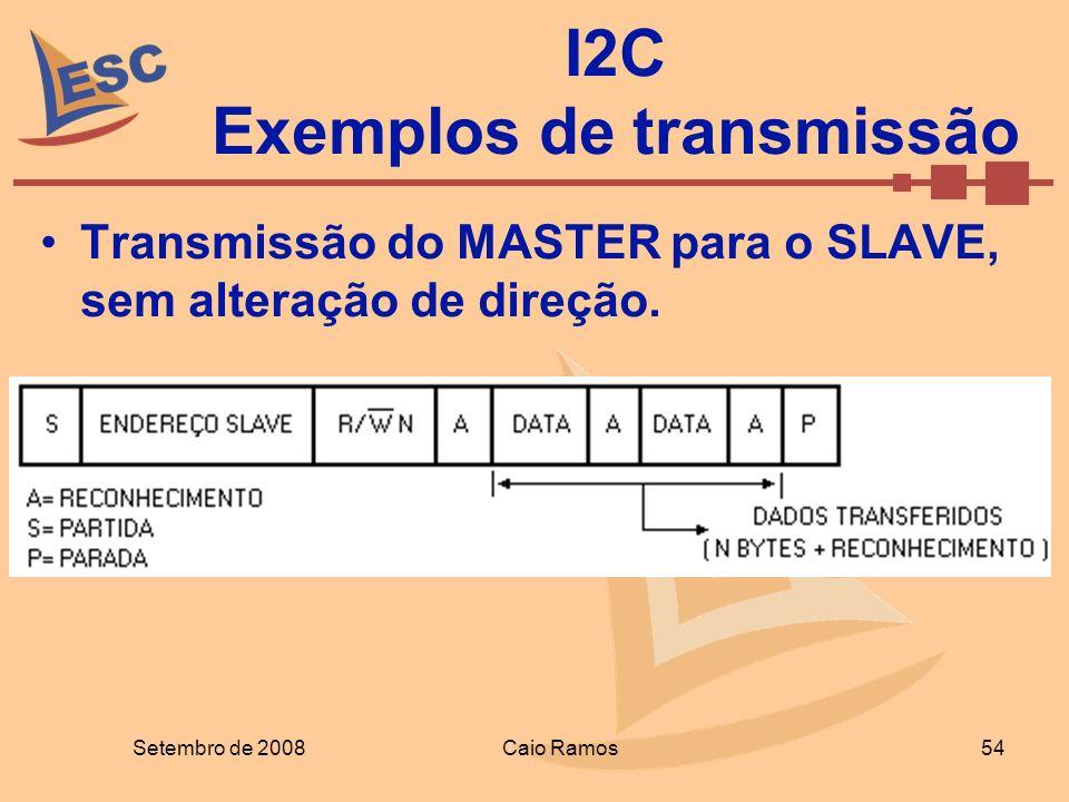 Setembro de 2008Caio Ramos 54 I2C Exemplos de transmissão Transmissão do MASTER para o SLAVE, sem alteração de direção.