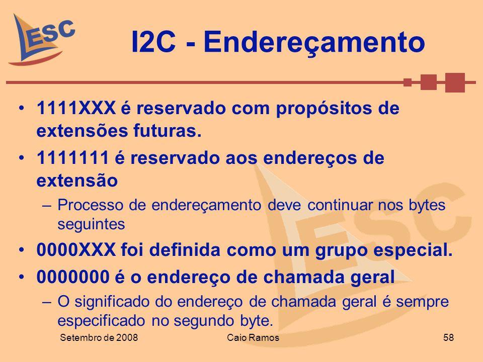 Setembro de 2008Caio Ramos 58 I2C - Endereçamento 1111XXX é reservado com propósitos de extensões futuras. 1111111 é reservado aos endereços de extens