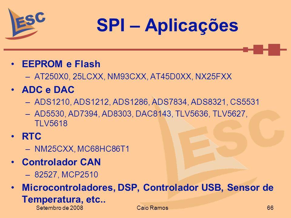 SPI – Aplicações Setembro de 2008Caio Ramos66 EEPROM e Flash –AT250X0, 25LCXX, NM93CXX, AT45D0XX, NX25FXX ADC e DAC –ADS1210, ADS1212, ADS1286, ADS783