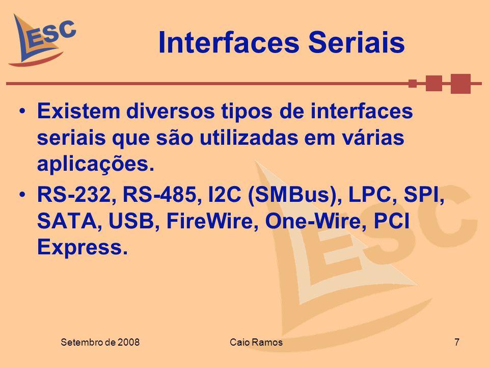Interfaces Seriais Existem diversos tipos de interfaces seriais que são utilizadas em várias aplicações. RS-232, RS-485, I2C (SMBus), LPC, SPI, SATA,