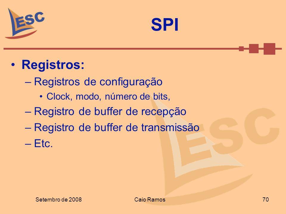 Registros: –Registros de configuração Clock, modo, número de bits, –Registro de buffer de recepção –Registro de buffer de transmissão –Etc. SPI Setemb