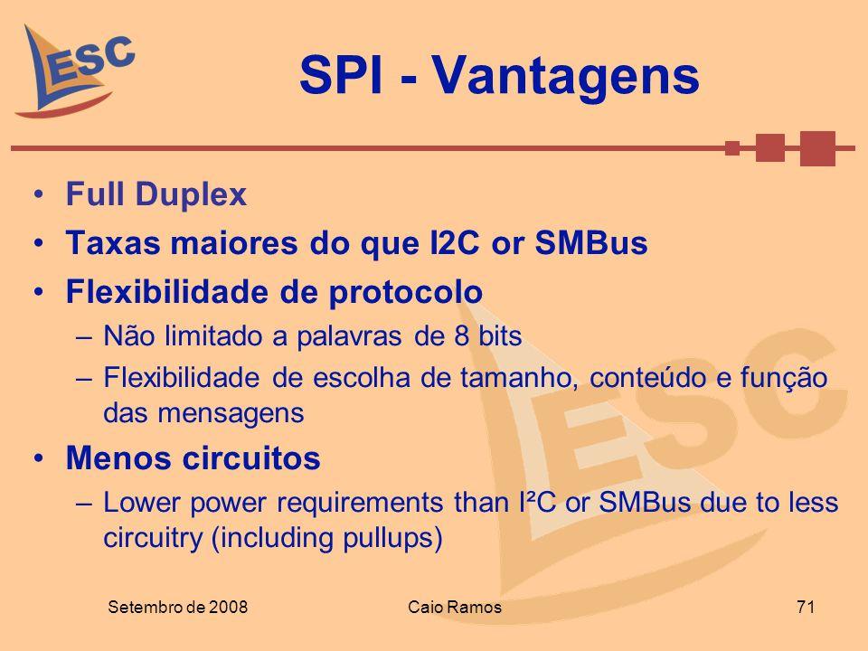 SPI - Vantagens Full Duplex Taxas maiores do que I2C or SMBus Flexibilidade de protocolo –Não limitado a palavras de 8 bits –Flexibilidade de escolha