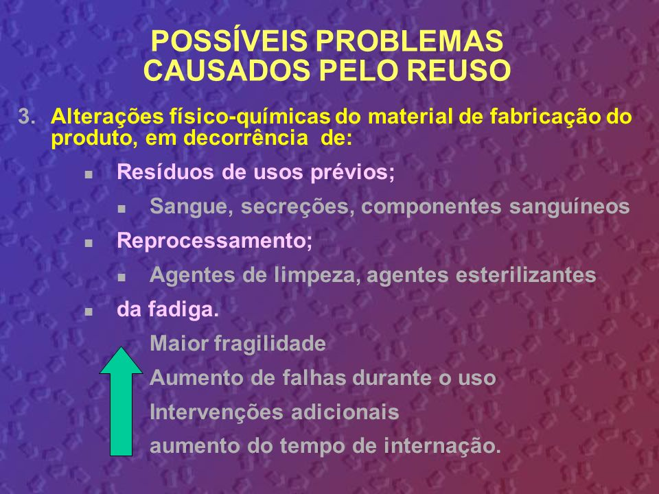 3.Alterações físico-químicas do material de fabricação do produto, em decorrência de: Resíduos de usos prévios; Sangue, secreções, componentes sanguín
