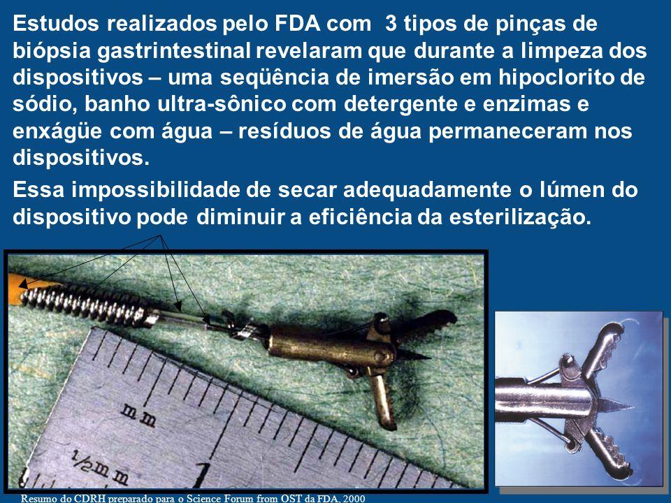 Resumo do CDRH preparado para o Science Forum from OST da FDA, 2000 Estudos realizados pelo FDA com 3 tipos de pinças de biópsia gastrintestinal revel