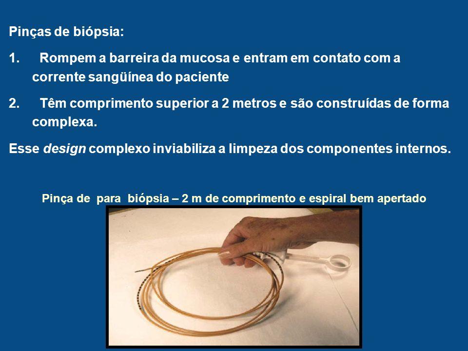 Pinça de para biópsia – 2 m de comprimento e espiral bem apertado Pinças de biópsia: 1. Rompem a barreira da mucosa e entram em contato com a corrente