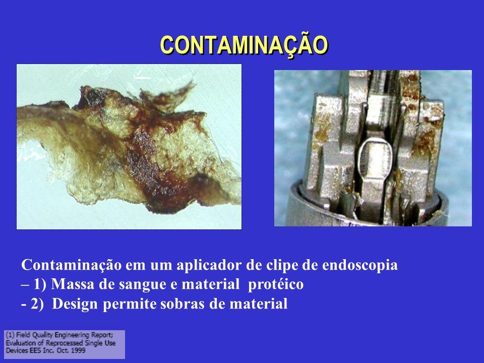 CONTAMINAÇÃO Contaminação em um aplicador de clipe de endoscopia – 1) Massa de sangue e material protéico - 2) Design permite sobras de material
