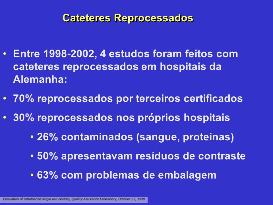 Cateteres Reprocessados Entre 1998-2002, 4 estudos foram feitos com cateteres reprocessados em hospitais da Alemanha: 70% reprocessados por terceiros