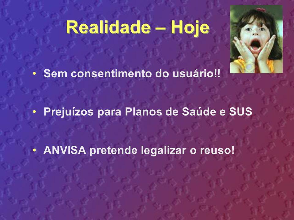 Realidade – Hoje Sem consentimento do usuário!! Prejuízos para Planos de Saúde e SUS ANVISA pretende legalizar o reuso!
