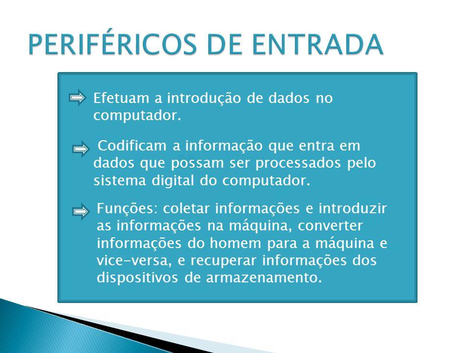 Codificam a informação que entra em dados que possam ser processados pelo sistema digital do computador. Efetuam a introdução de dados no computador.