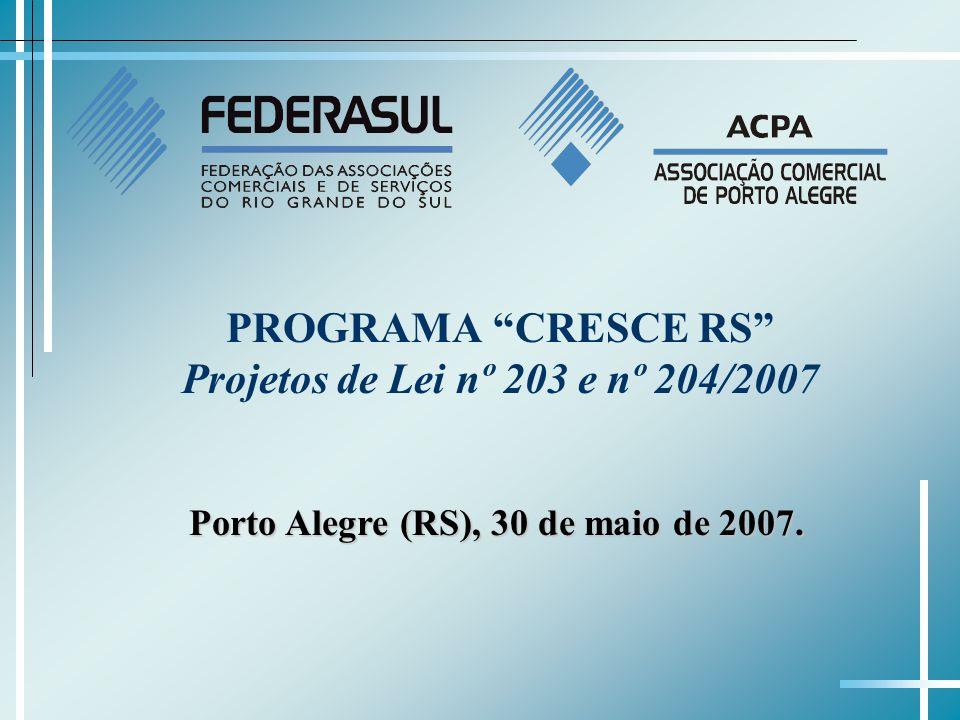 PROGRAMA CRESCE RS Projetos de Lei nº 203 e nº 204/2007 Porto Alegre (RS), 30 de maio de 2007.