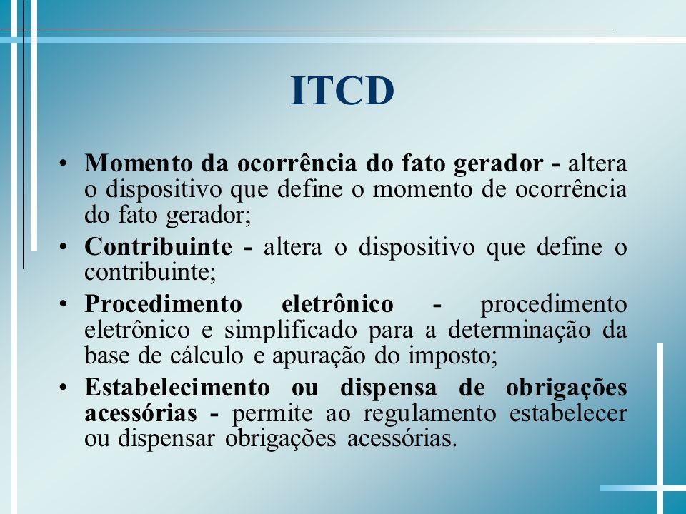 ITCD Momento da ocorrência do fato gerador - altera o dispositivo que define o momento de ocorrência do fato gerador; Contribuinte - altera o dispositivo que define o contribuinte; Procedimento eletrônico - procedimento eletrônico e simplificado para a determinação da base de cálculo e apuração do imposto; Estabelecimento ou dispensa de obrigações acessórias - permite ao regulamento estabelecer ou dispensar obrigações acessórias.
