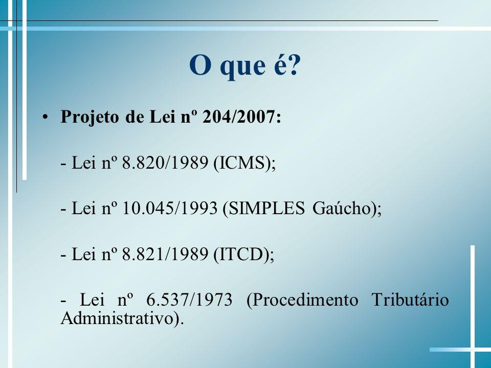 O que é? Projeto de Lei nº 204/2007: - Lei nº 8.820/1989 (ICMS); - Lei nº 10.045/1993 (SIMPLES Gaúcho); - Lei nº 8.821/1989 (ITCD); - Lei nº 6.537/197