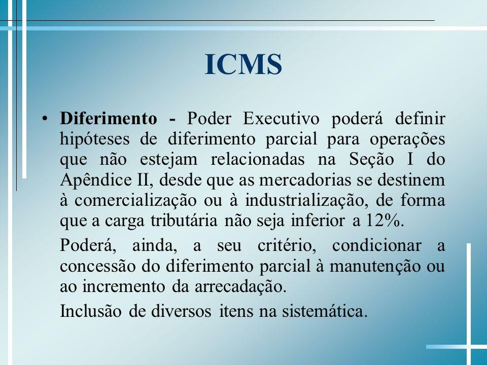 ICMS Diferimento - Poder Executivo poderá definir hipóteses de diferimento parcial para operações que não estejam relacionadas na Seção I do Apêndice