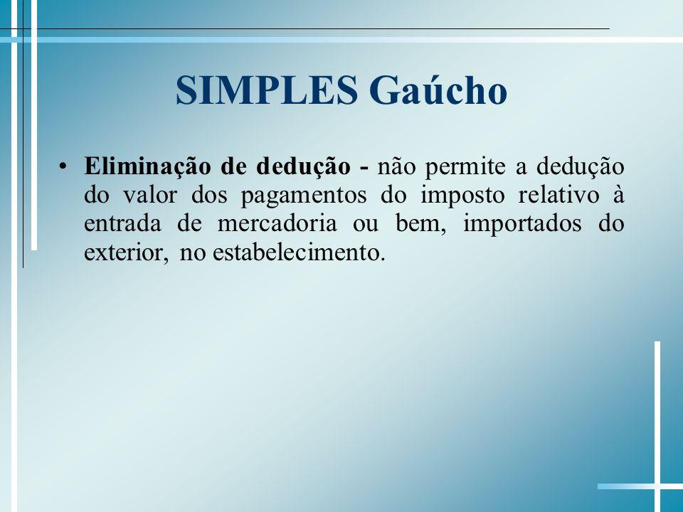 SIMPLES Gaúcho Eliminação de dedução - não permite a dedução do valor dos pagamentos do imposto relativo à entrada de mercadoria ou bem, importados do exterior, no estabelecimento.