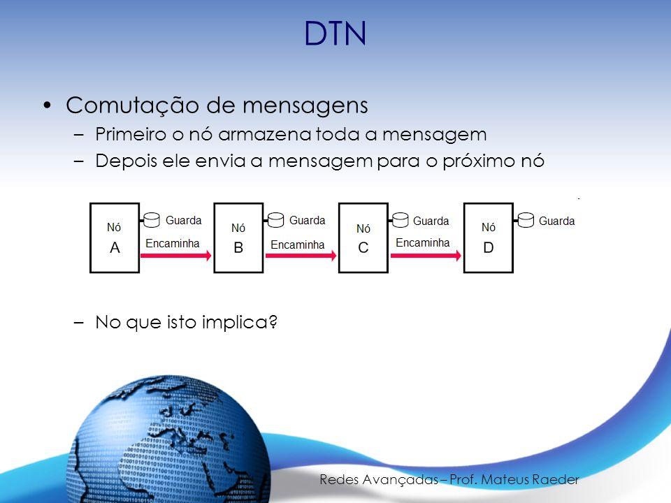 Redes Avançadas – Prof. Mateus Raeder DTN Comutação de mensagens –Primeiro o nó armazena toda a mensagem –Depois ele envia a mensagem para o próximo n