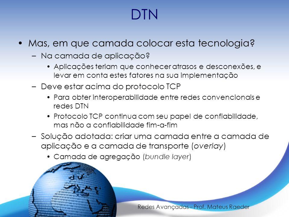 Redes Avançadas – Prof. Mateus Raeder DTN Mas, em que camada colocar esta tecnologia? –Na camada de aplicação? Aplicações teriam que conhecer atrasos
