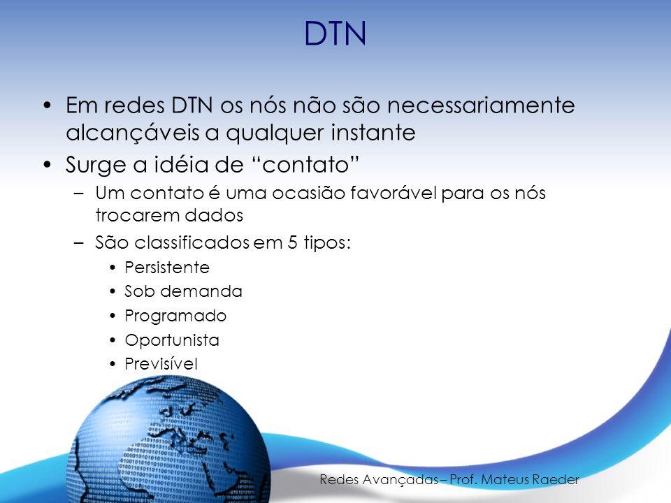 Redes Avançadas – Prof. Mateus Raeder DTN Em redes DTN os nós não são necessariamente alcançáveis a qualquer instante Surge a idéia de contato –Um con