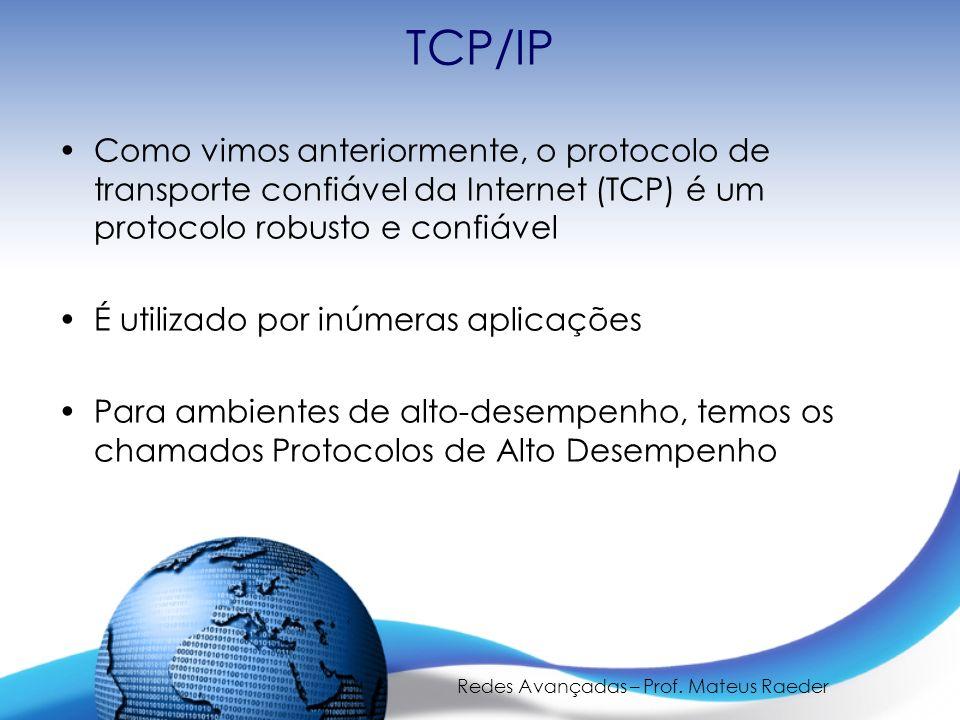 Redes Avançadas – Prof. Mateus Raeder TCP/IP Como vimos anteriormente, o protocolo de transporte confiável da Internet (TCP) é um protocolo robusto e
