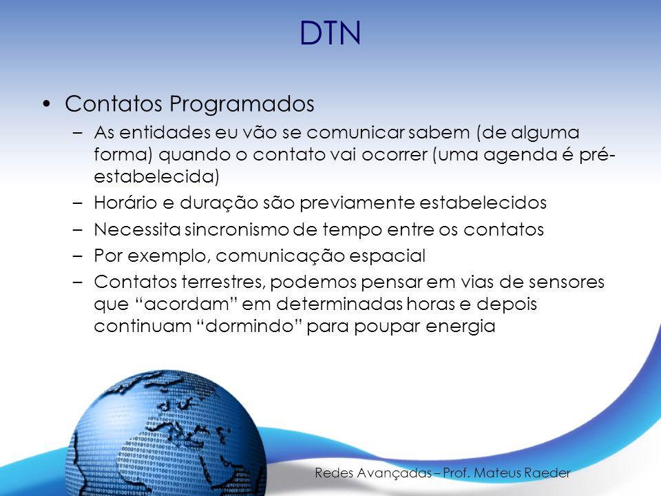Redes Avançadas – Prof. Mateus Raeder DTN Contatos Programados –As entidades eu vão se comunicar sabem (de alguma forma) quando o contato vai ocorrer