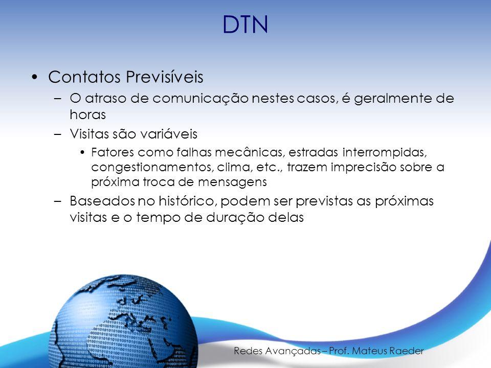 Redes Avançadas – Prof. Mateus Raeder DTN Contatos Previsíveis –O atraso de comunicação nestes casos, é geralmente de horas –Visitas são variáveis Fat