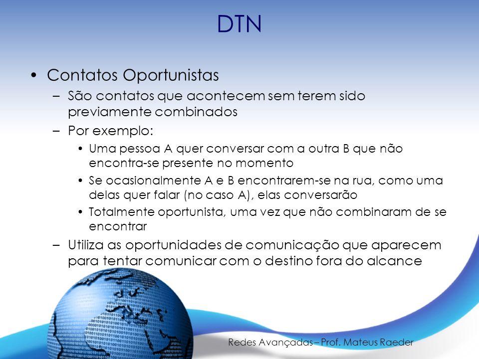 Redes Avançadas – Prof. Mateus Raeder DTN Contatos Oportunistas –São contatos que acontecem sem terem sido previamente combinados –Por exemplo: Uma pe
