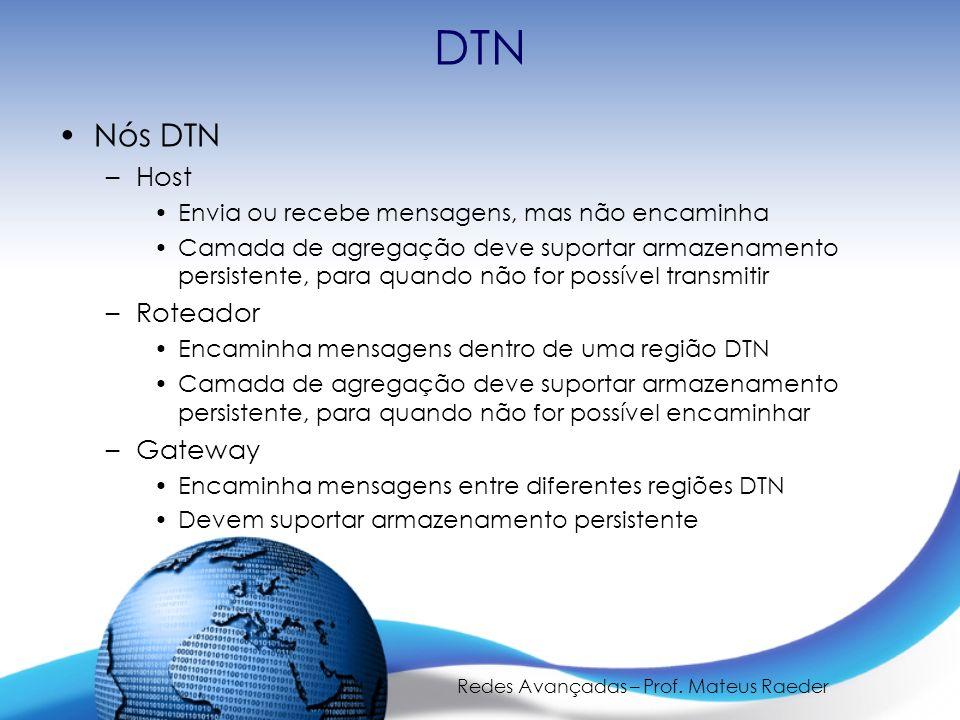 Redes Avançadas – Prof. Mateus Raeder DTN Nós DTN –Host Envia ou recebe mensagens, mas não encaminha Camada de agregação deve suportar armazenamento p